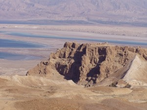 Masada from the West and the Ramp on the right